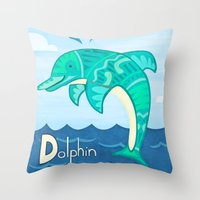 dolphin Throw Pillows featuring Dolphin by Claire Lordon