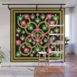 Fashion Pattern with Golden Chains and Jewelry Wall Mural