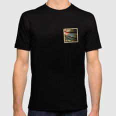 Grunge sticker of New Zealand flag MEDIUM Black Mens Fitted Tee