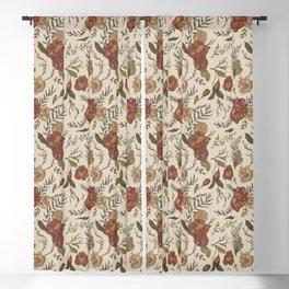 Antique Floral Pattern Blackout Curtain