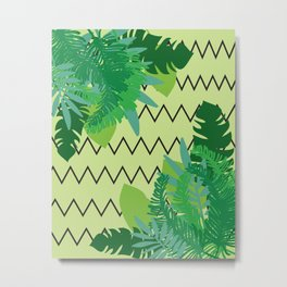 Tropical Leaves on Zig- Zag Background Metal Print