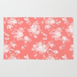Vintage elegant coral white bohemian floral Rug