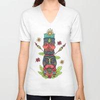 tiki V-neck T-shirts featuring Tiki totem by Binnyboo