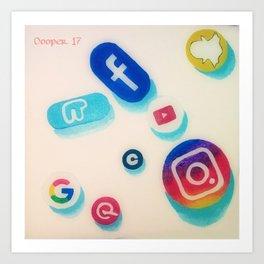 Addicted to Social Media Art Print