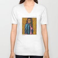 ripley V-neck T-shirts featuring Ms. Virginia Ripley by Craig Mertens