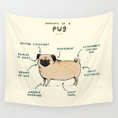 Anatomy of a Pug Wall Tapestry