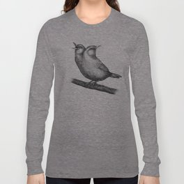 Gossiping House Wren - Black and White Long Sleeve T-shirt