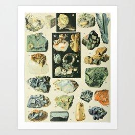 Vintage Minerals Chart Art Print