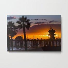 Huntington Beach Pier Sunset  1-16-20 Metal Print