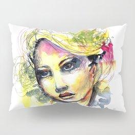 Abstract watercolor portrait Pillow Sham