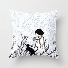 Vintage child in blue, walking in wild flowers Throw Pillow