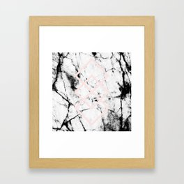 White Marble Concrete Look Blush Pink Geometric Squares Framed Art Print