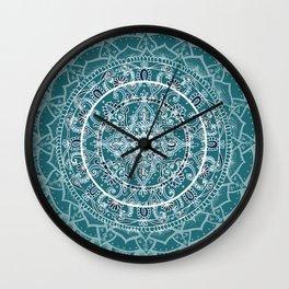Detailed Teal and Blue Mandala Pattern Wall Clock