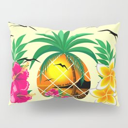Pineapple Tropical Sunset, Palm Tree and Flowers Pillow Sham