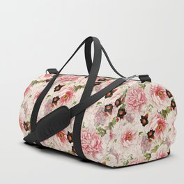 Small Vintage Peony and Ipomea Pattern - Smelling Dreams Duffle Bag