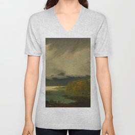 Joseph Wright of Derby - Derwent Water, with Skiddaw in the distance Unisex V-Neck