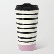 Dusty Rose & Stripes Travel Mug