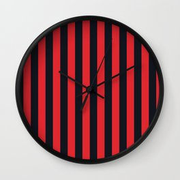 Vertical Stripes Black & Red Wall Clock