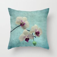 orchid Throw Pillows featuring Orchid by KunstFabrik_StaticMovement Manu Jobst