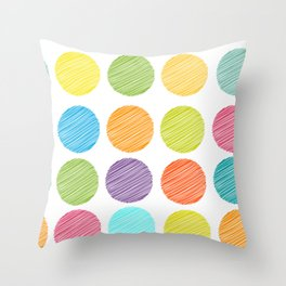 rainbow color Polka dot background. scribble dot on white Throw Pillow