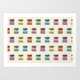 A head full of typewriters, pattern, vintage, '50s, 1950, fifties, lettera 22, Olivetti facsimile Art Print
