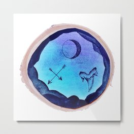 Blue Ink Trio Design Metal Print