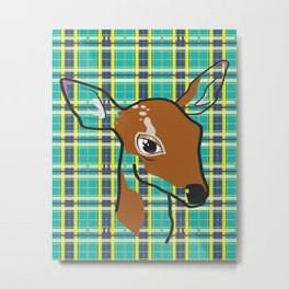Plaid Fawn Metal Print