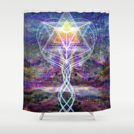 Merkabah Rainbow Shower Curtain