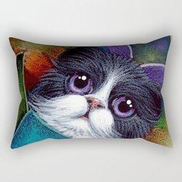 SPRING TUXEDO FAIRY CAT BEHIND THE HYDRANGEA FLOWERS Rectangular Pillow