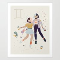 gemini Art Prints featuring Gemini by LordofMasks