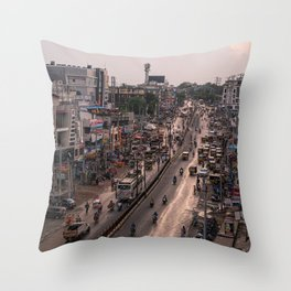 Busy streets in India Throw Pillow