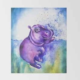 Fiona the Hippo - Splashing around Throw Blanket