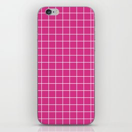 Deep cerise - pink color - White Lines Grid Pattern iPhone Skin