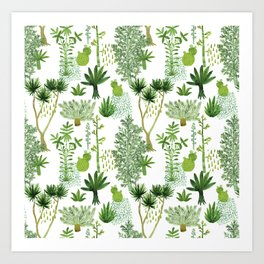 Green jungle pattern Art Print