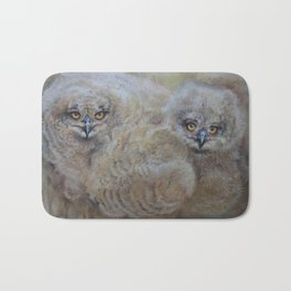 OWLS Wildlife illustration Two young Eagle Owl in the forest Pastel drawing Gray birds Bath Mat