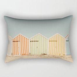 Summer Beach Huts Rectangular Pillow