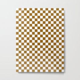 Small Checkered - White and Golden Brown Metal Print