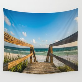 Head to the Beach - Boardwalk Leads to Summer Fun in Florida Wall Tapestry
