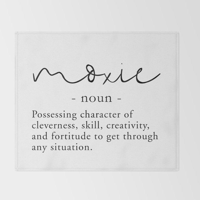 Amazing Moxie Definition   Minimalist Black Throw Blanket