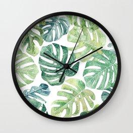 Tropical leaves Monstera leaves Jungle leaves Palm leaves Wall Clock