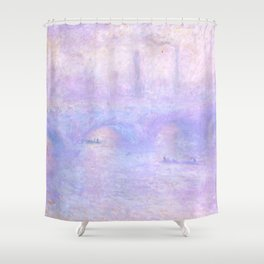 "Claude Monet ""Waterloo Bridge, Effect of Fog"" Shower Curtain"