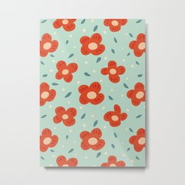 Simple Pretty Orange Flowers Pattern Metal Print