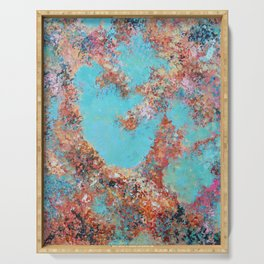 Oneness, Turquoise and Teal Abstract Serving Tray