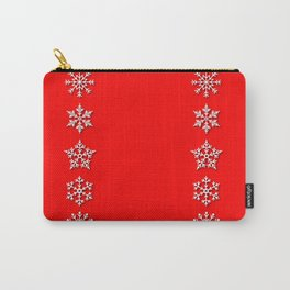Five Different White Snowflakes in a Row on a Red Background Carry-All Pouch