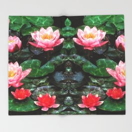 Mirrored Water Lilies Throw Blanket