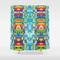 glitch Shower Curtains featuring glitch by Xenia Pirovskikh