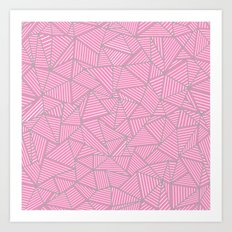 Ab Out Double Pink and Grey Art Print