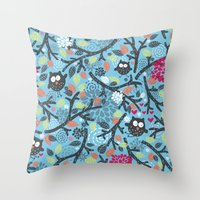 owls Throw Pillows featuring Owls. by panova