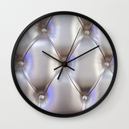 Silvery leather with rhinestone decoration Wall Clock