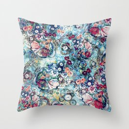 Steampunk Flowers II Throw Pillow